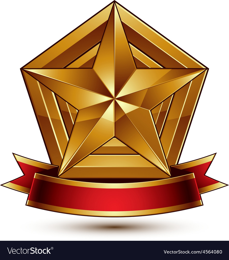 3d golden heraldic blazon with glossy pentagonal vector | Price: 1 Credit (USD $1)