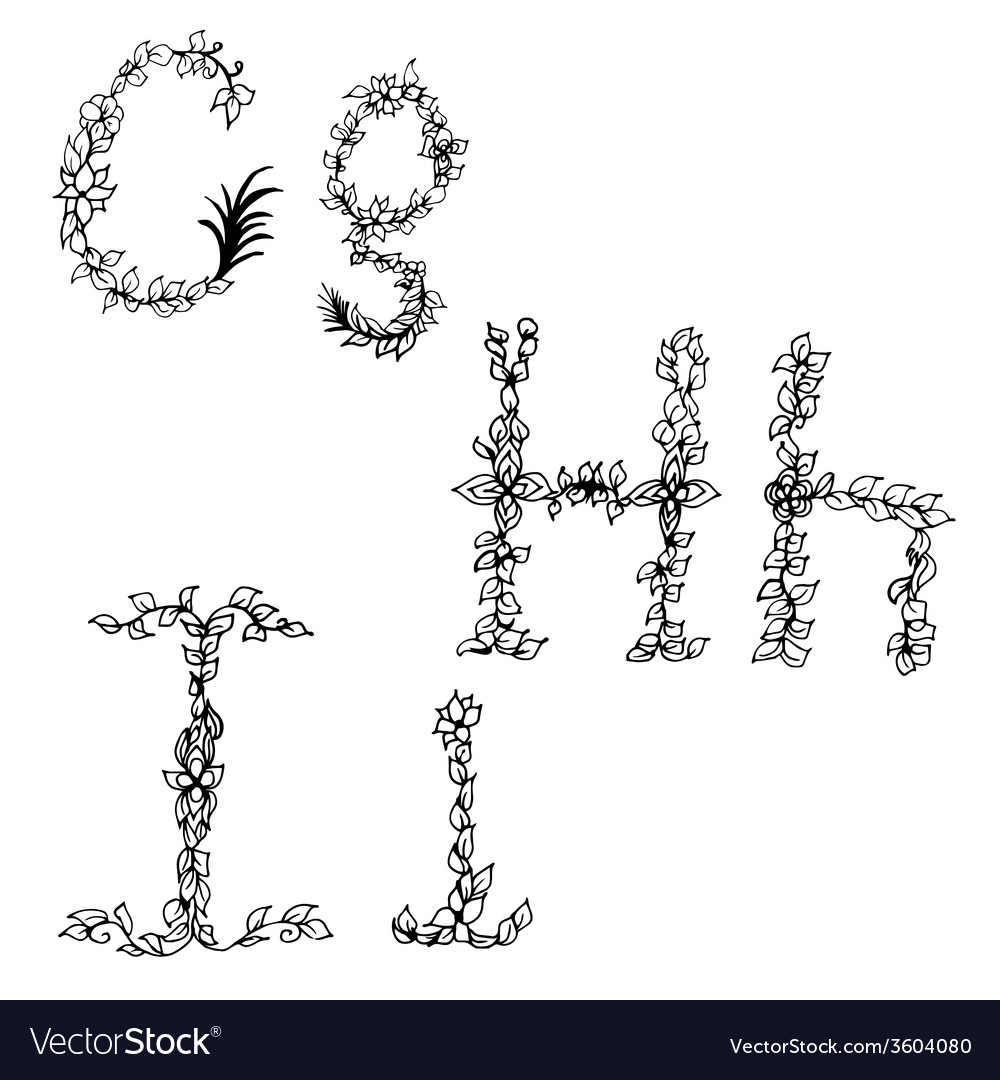 Alphabet in style of a sketch the letters g h i vector | Price: 1 Credit (USD $1)