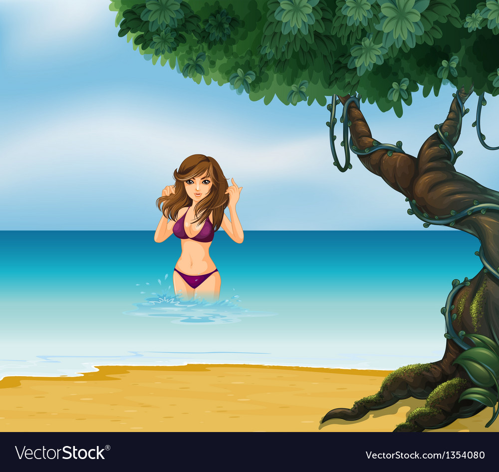Beach bikini girl vector | Price: 1 Credit (USD $1)