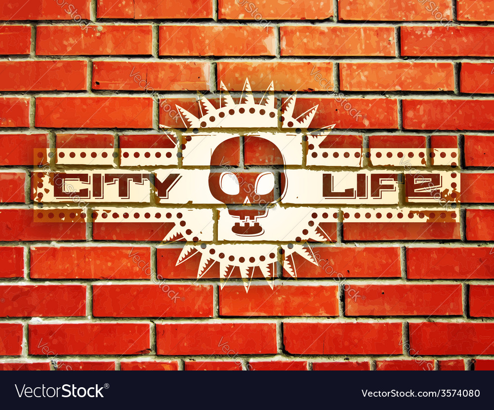 Brick wall with urban life sign vector | Price: 1 Credit (USD $1)