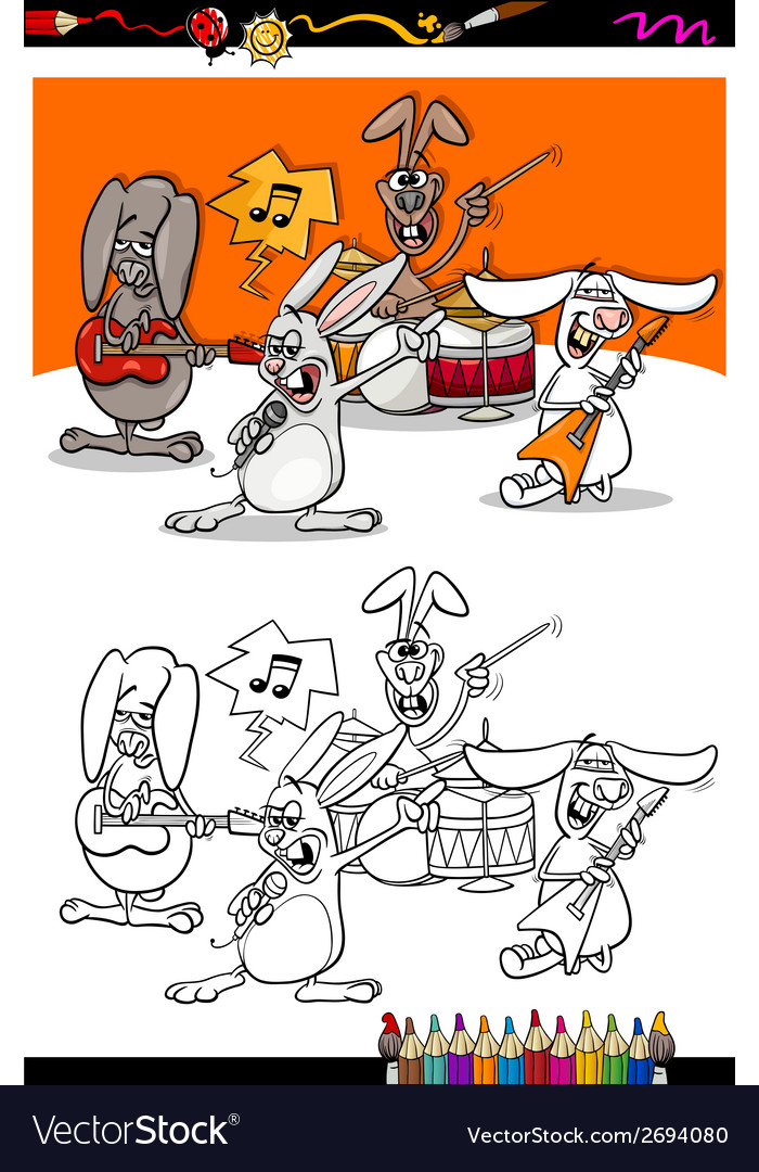 Bunnies band cartoon coloring book vector | Price: 1 Credit (USD $1)