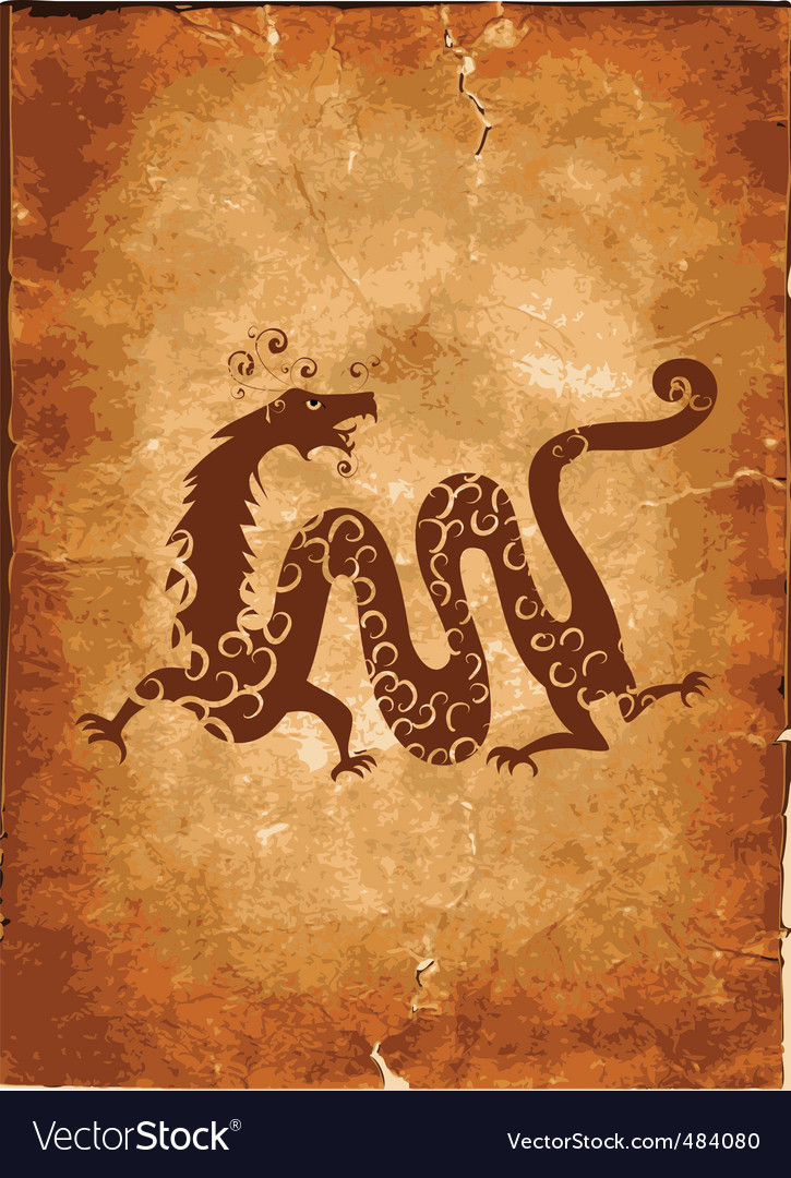 Chinese dragon on paper grunge vector | Price: 1 Credit (USD $1)