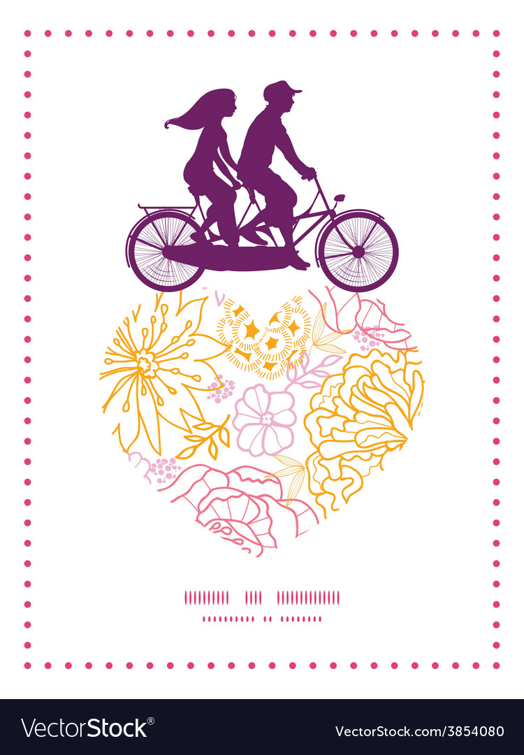 Flowers outlined couple on tandem bicycle vector | Price: 1 Credit (USD $1)