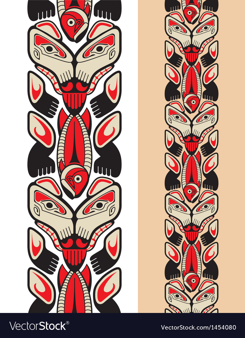 Haida style seamless pattern vector | Price: 1 Credit (USD $1)