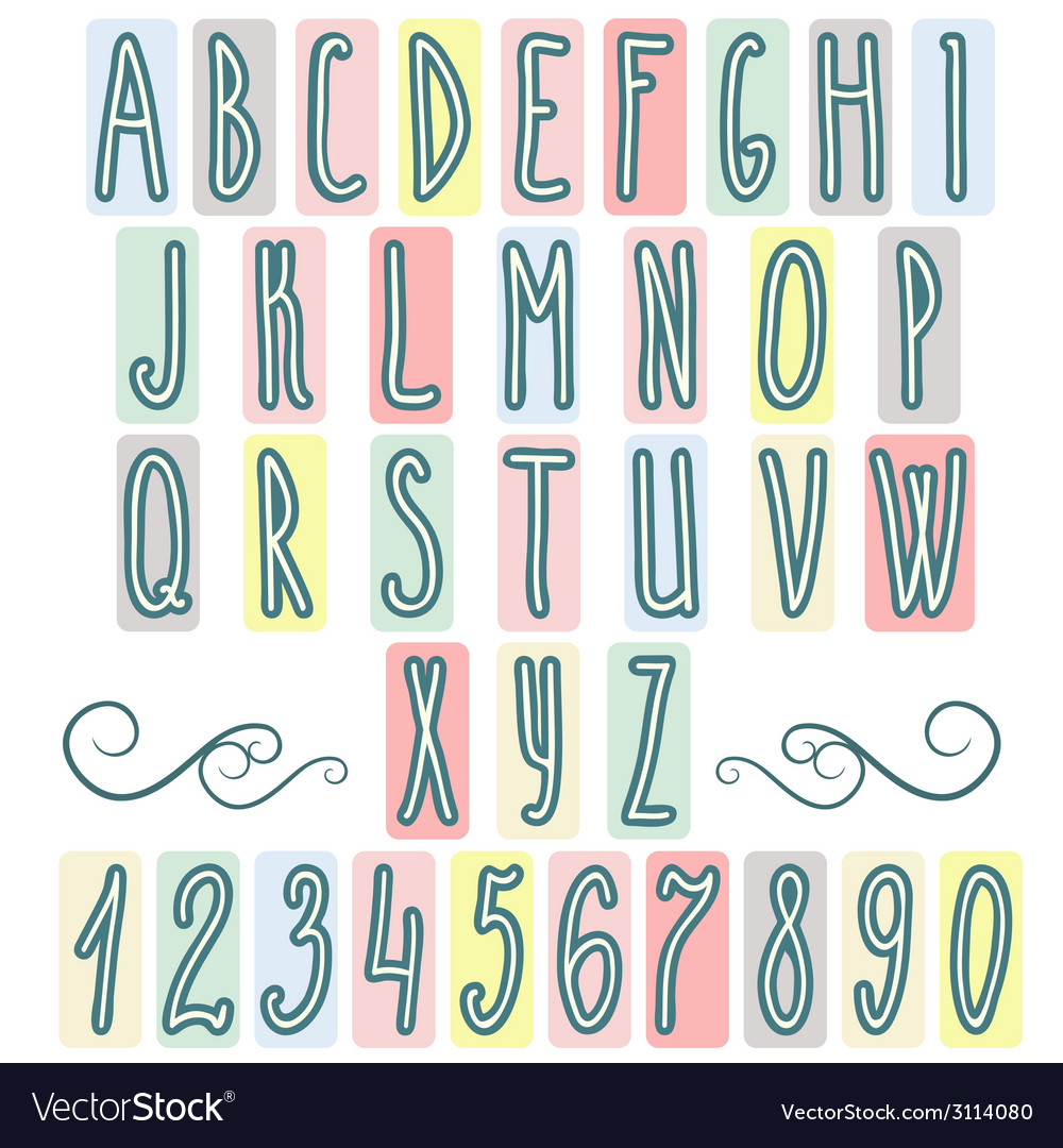 Hand drawn letters alphabet vector | Price: 1 Credit (USD $1)