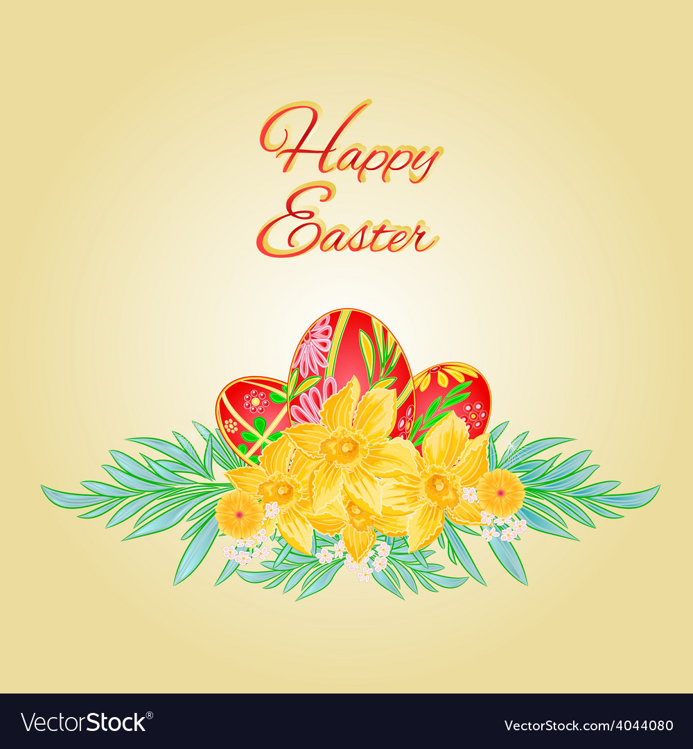 Happy easter eggs and daffodils place for text vector | Price: 1 Credit (USD $1)