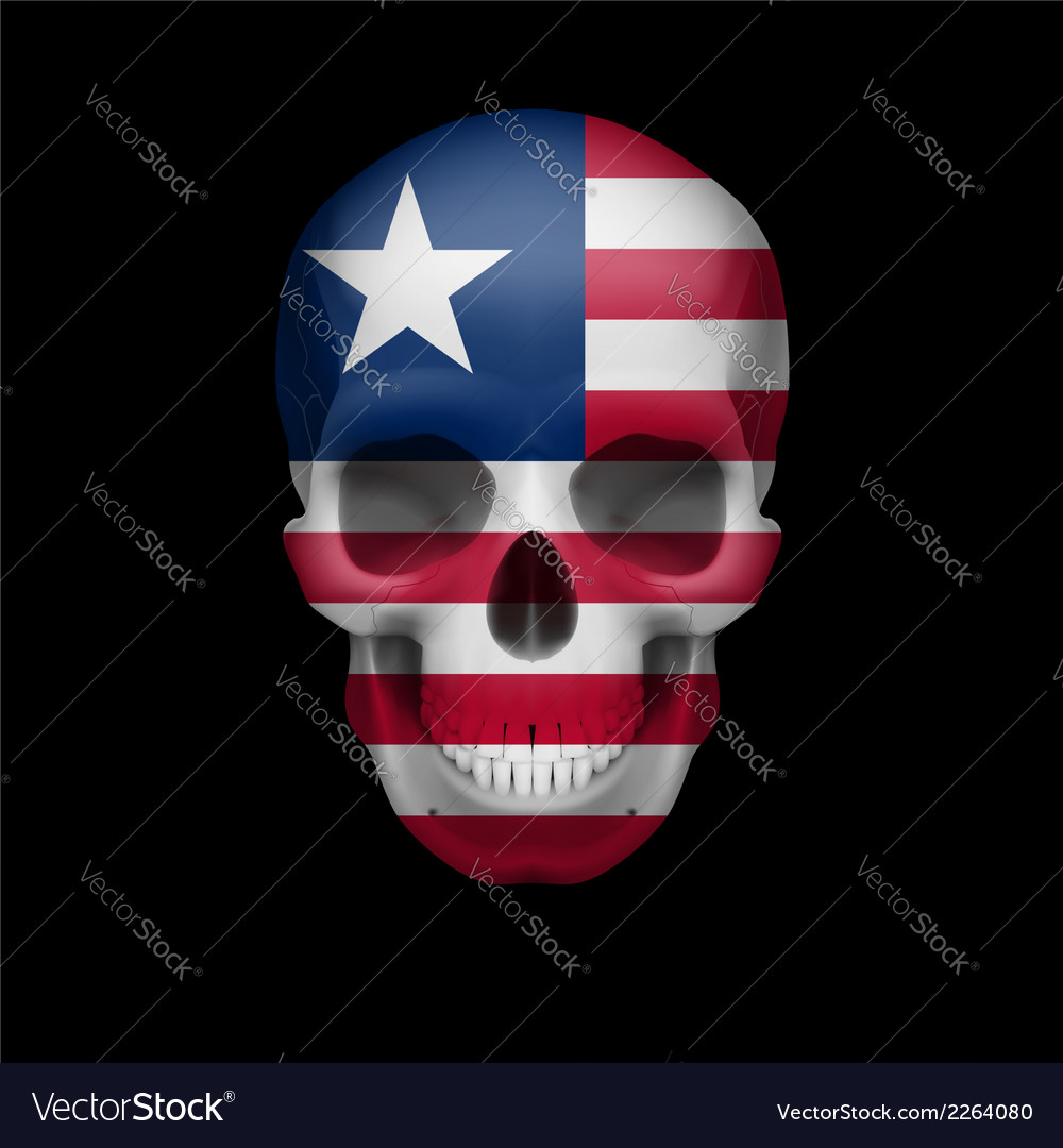 Liberian flag skull vector | Price: 1 Credit (USD $1)