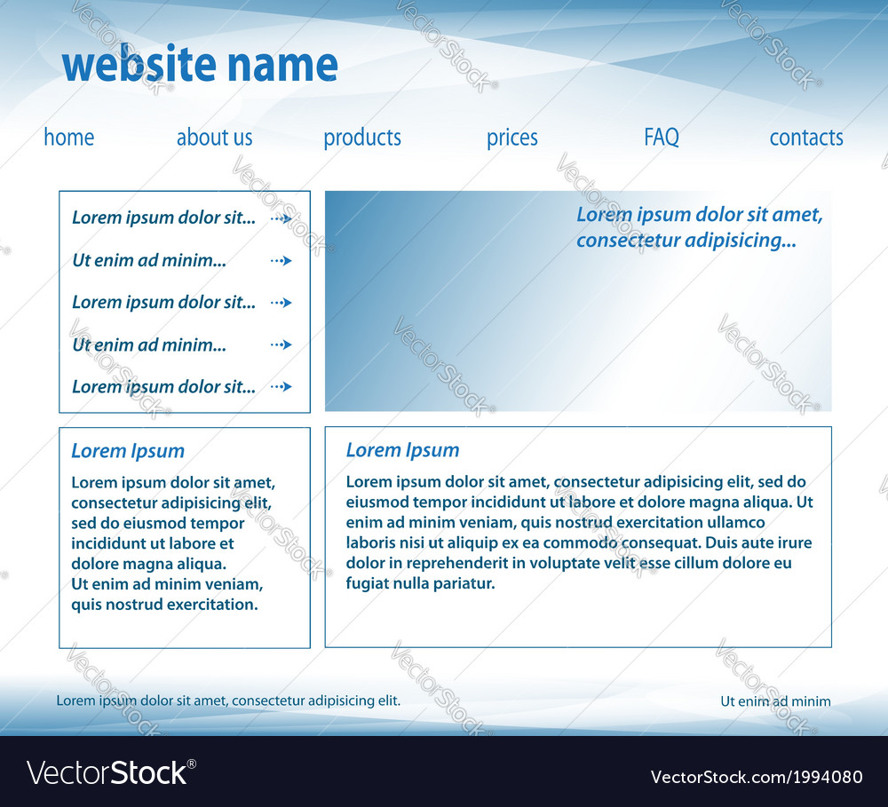 Light blue template - website layered vector | Price: 1 Credit (USD $1)