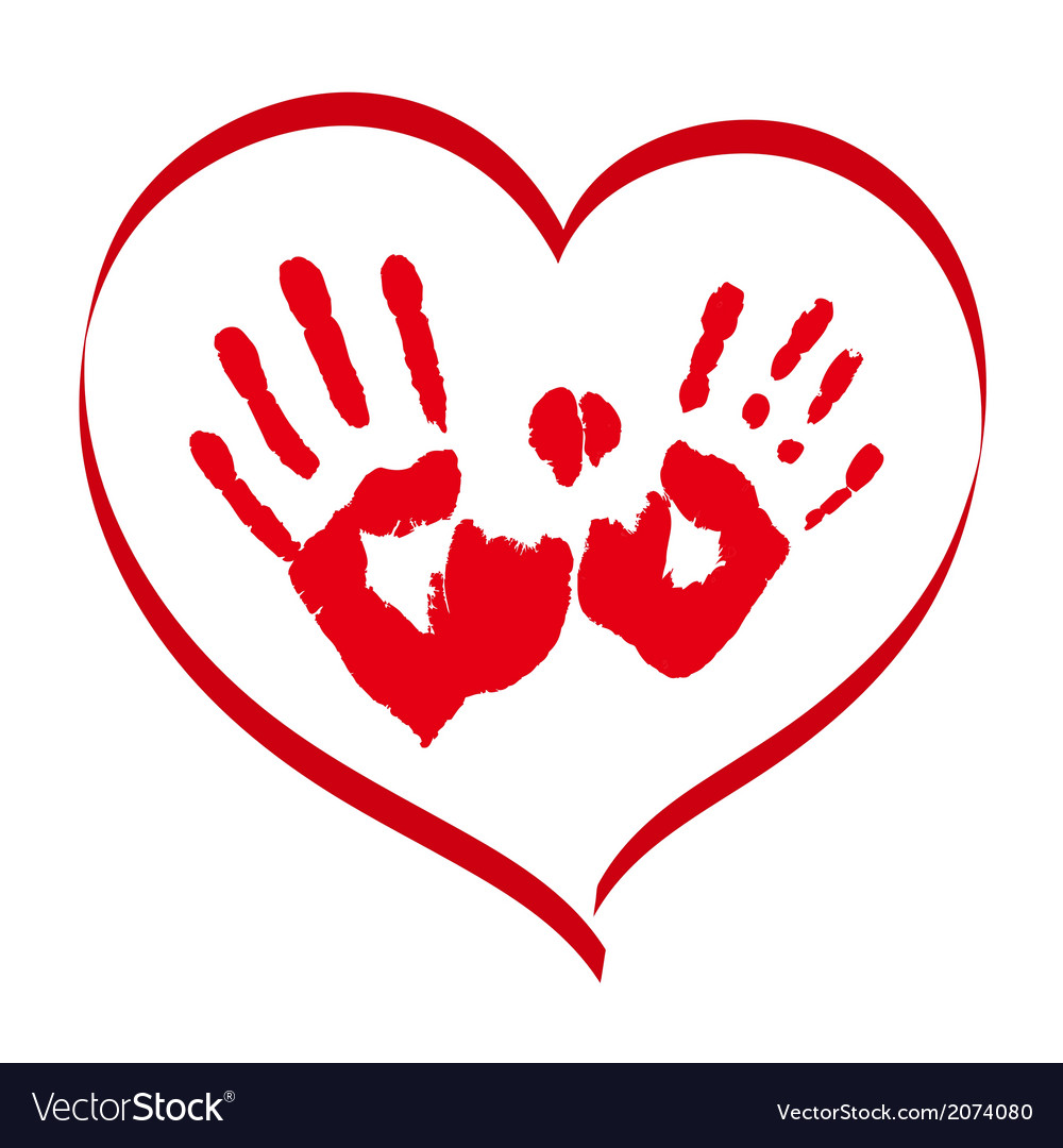 Man and woman red handprints in a heart on white vector | Price: 1 Credit (USD $1)
