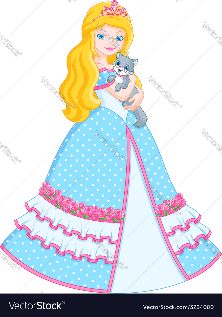 Princess with cat vector | Price: 3 Credit (USD $3)