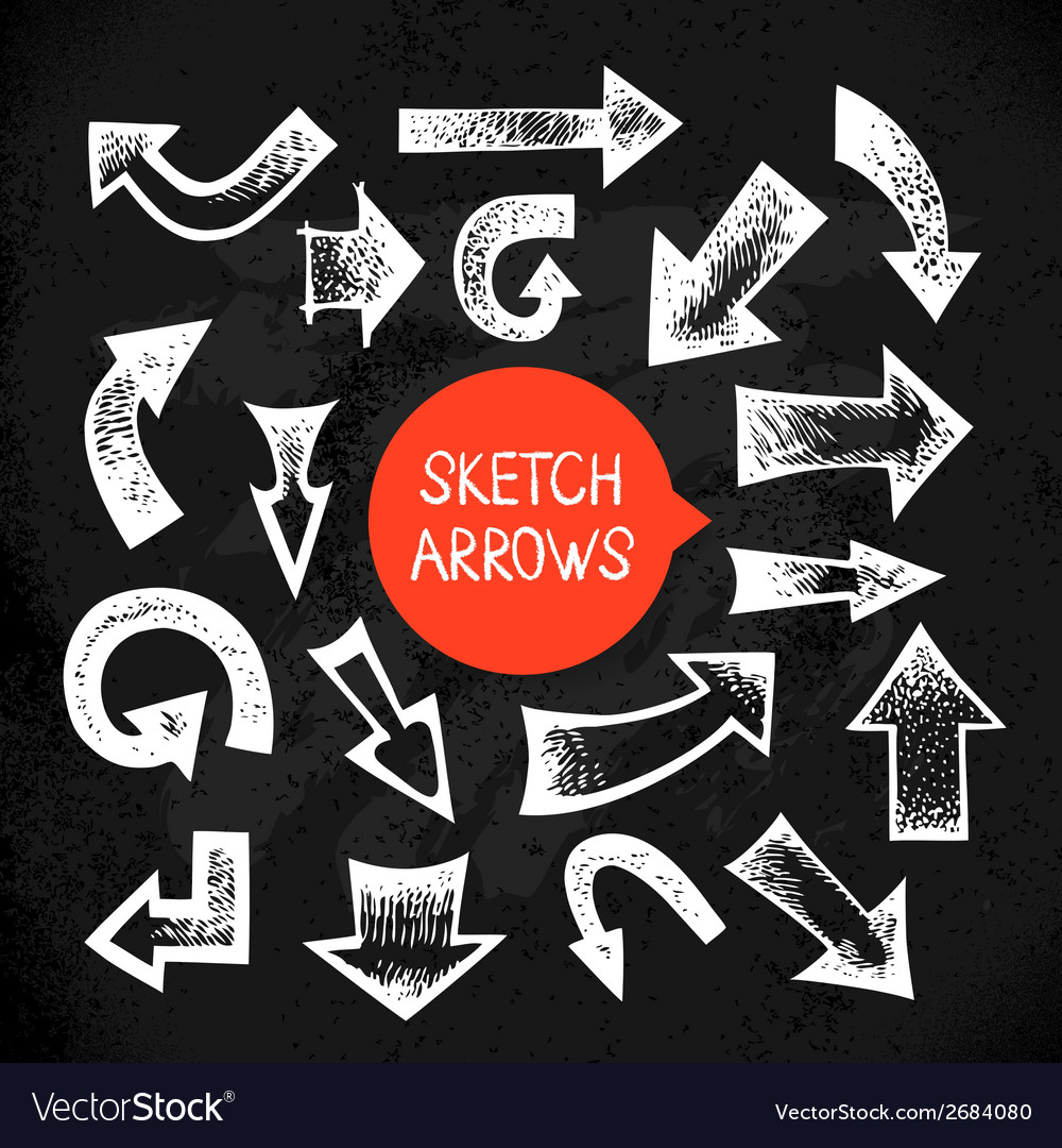 Set of hand drawn sketch doodle arrows vector | Price: 1 Credit (USD $1)