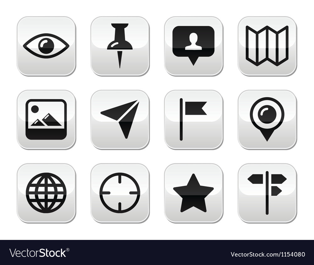 Travel location modern buttons set vector | Price: 1 Credit (USD $1)