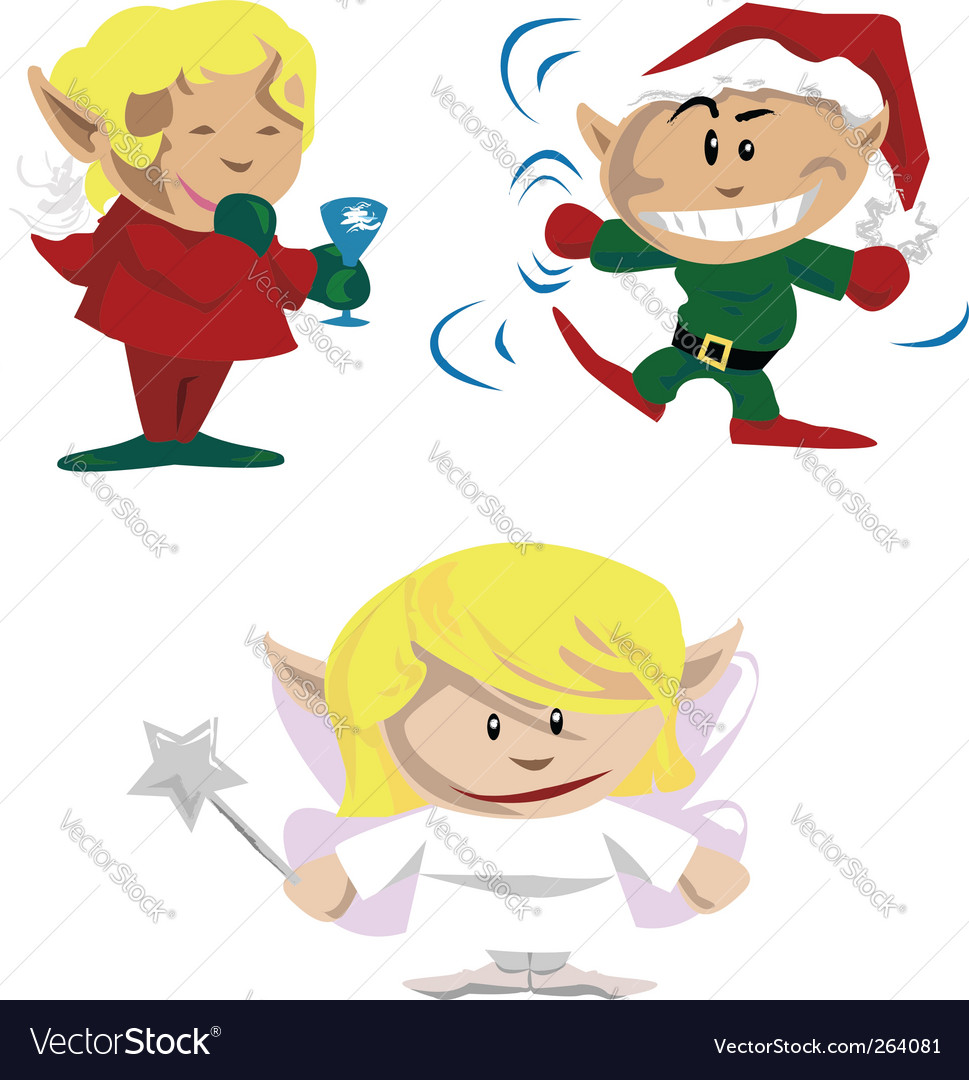 Christmas elves and pixies vector | Price: 1 Credit (USD $1)