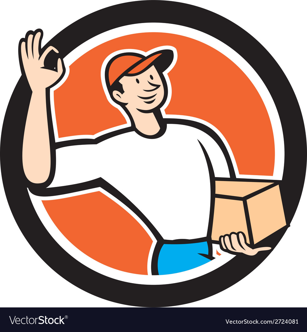 Delivery man okay sign parcel circle cartoon vector | Price: 1 Credit (USD $1)