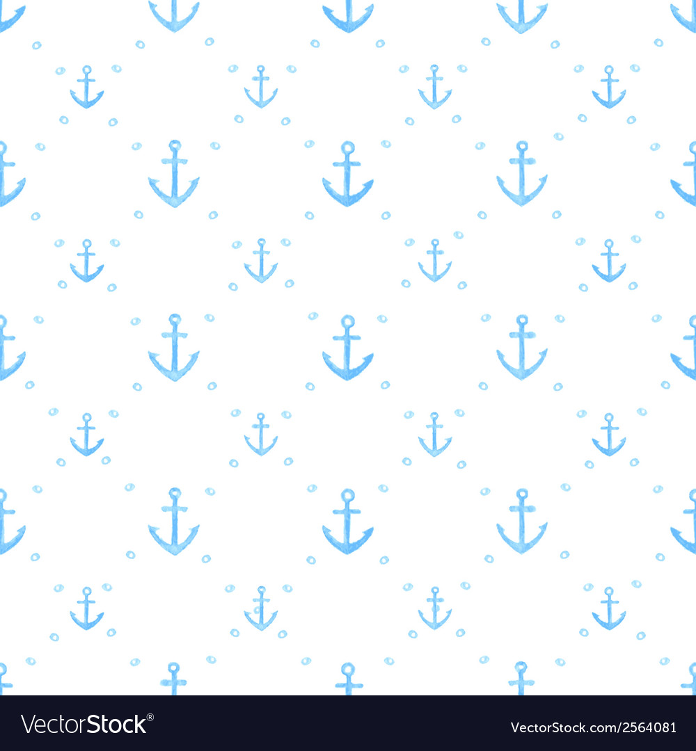 Marine watercolor seamless pattern of anchors vector | Price: 1 Credit (USD $1)
