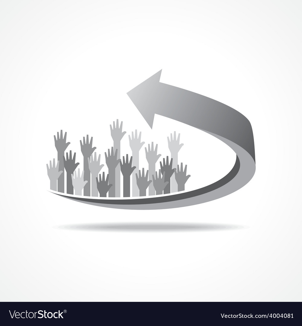 Raised hand on business arr vector | Price: 1 Credit (USD $1)