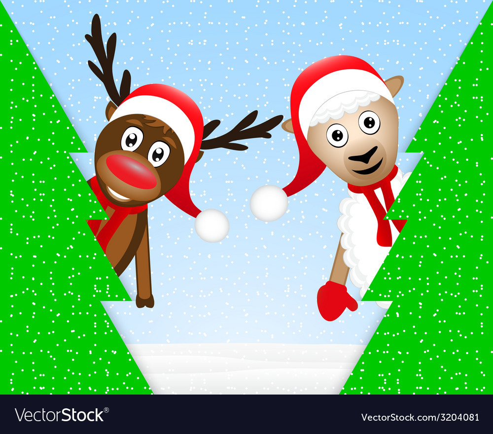 Reindeer and sheep in the christmas forest vector | Price: 1 Credit (USD $1)