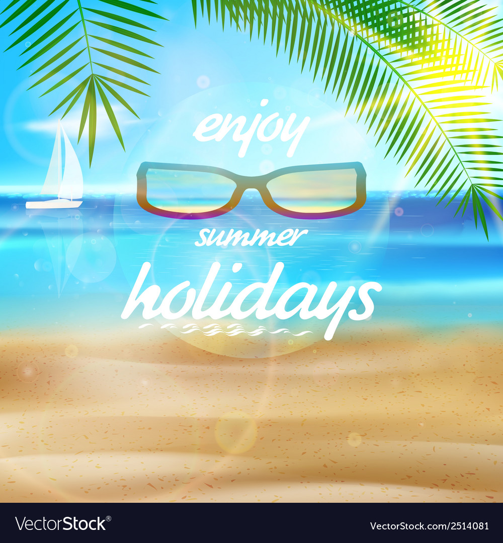 Seaside view poster with sun glasses vector | Price: 1 Credit (USD $1)