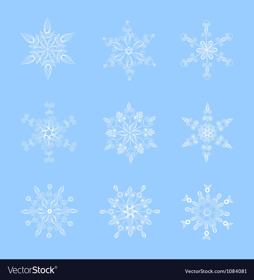 Set of beautiful snowflakes for christmas vector | Price: 1 Credit (USD $1)