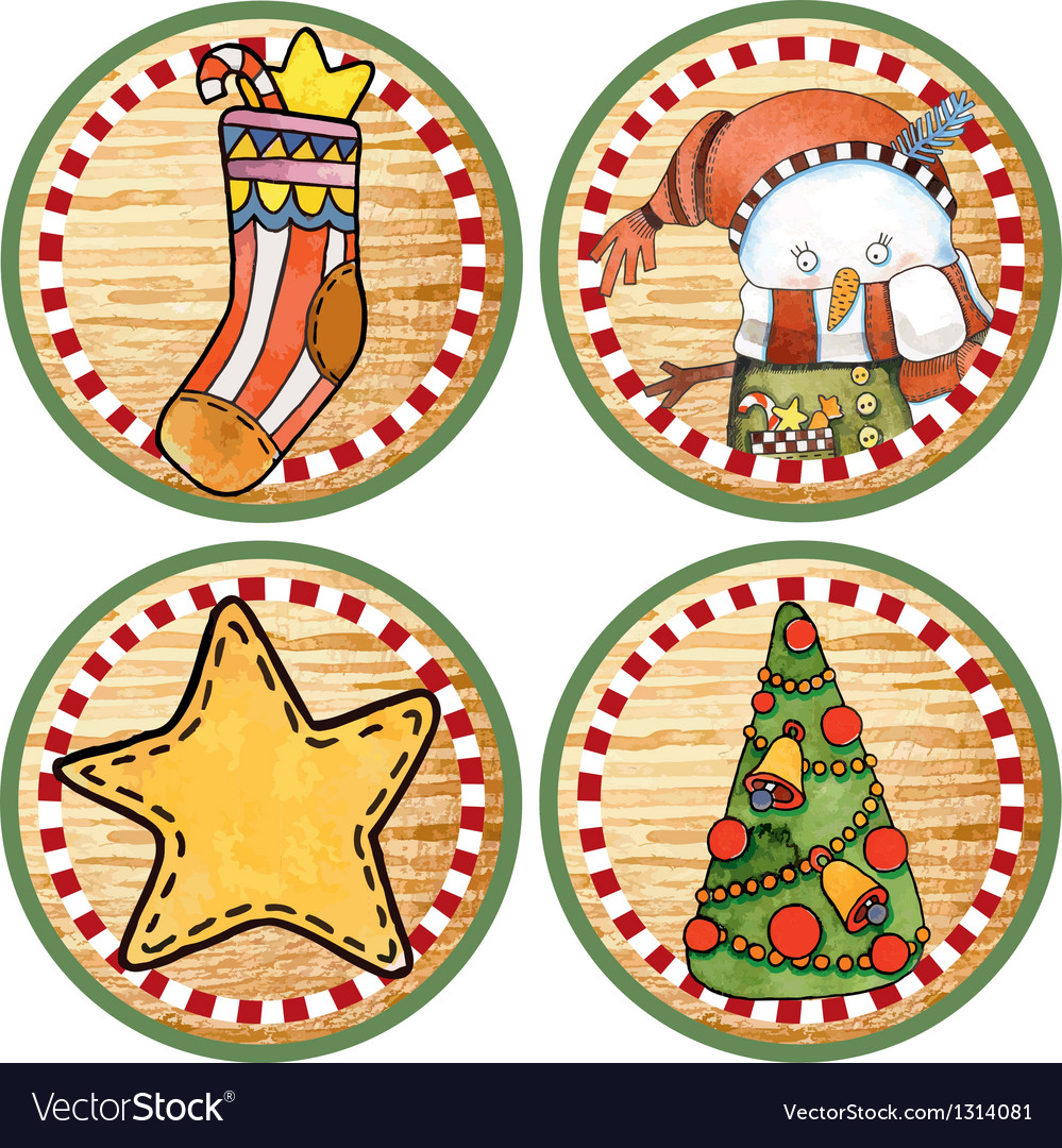 Sketchy christmas tags vector | Price: 1 Credit (USD $1)