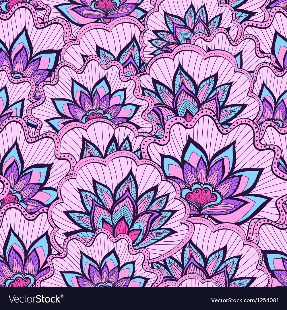 Spring pattern with violet handdrawn flowers vector | Price: 1 Credit (USD $1)