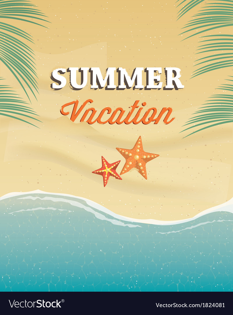 Summer vacation greeting card vector | Price: 1 Credit (USD $1)