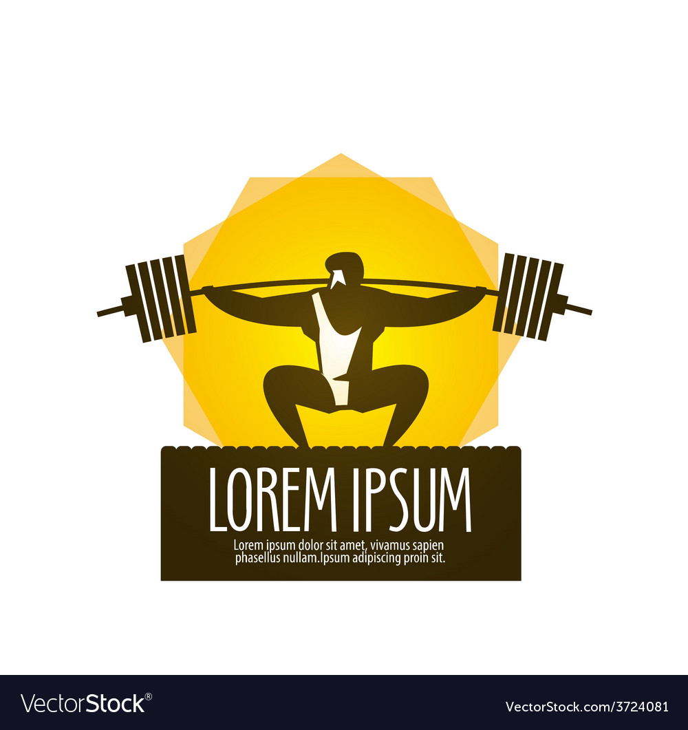 Weight lifter logo design template gym or vector | Price: 1 Credit (USD $1)