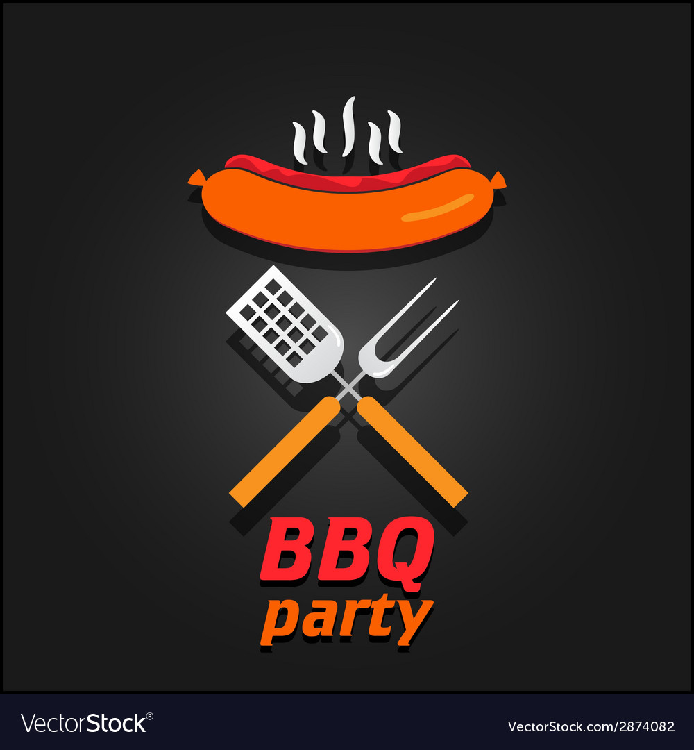 Bbq party invitation poster vector | Price: 1 Credit (USD $1)