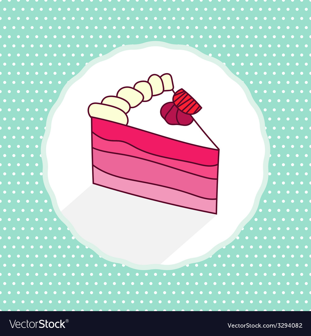 Cake piece in cartoon style on texture vector | Price: 1 Credit (USD $1)