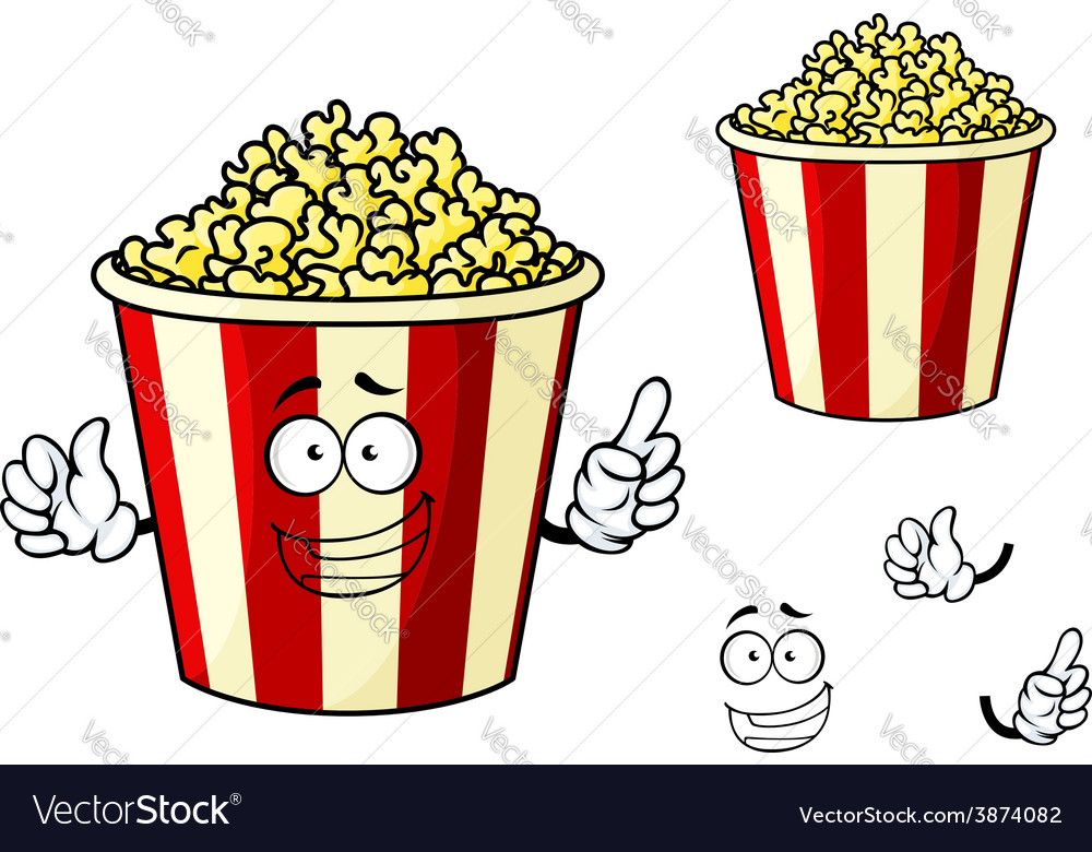 Cartoon funny striped box of popcorn vector | Price: 1 Credit (USD $1)