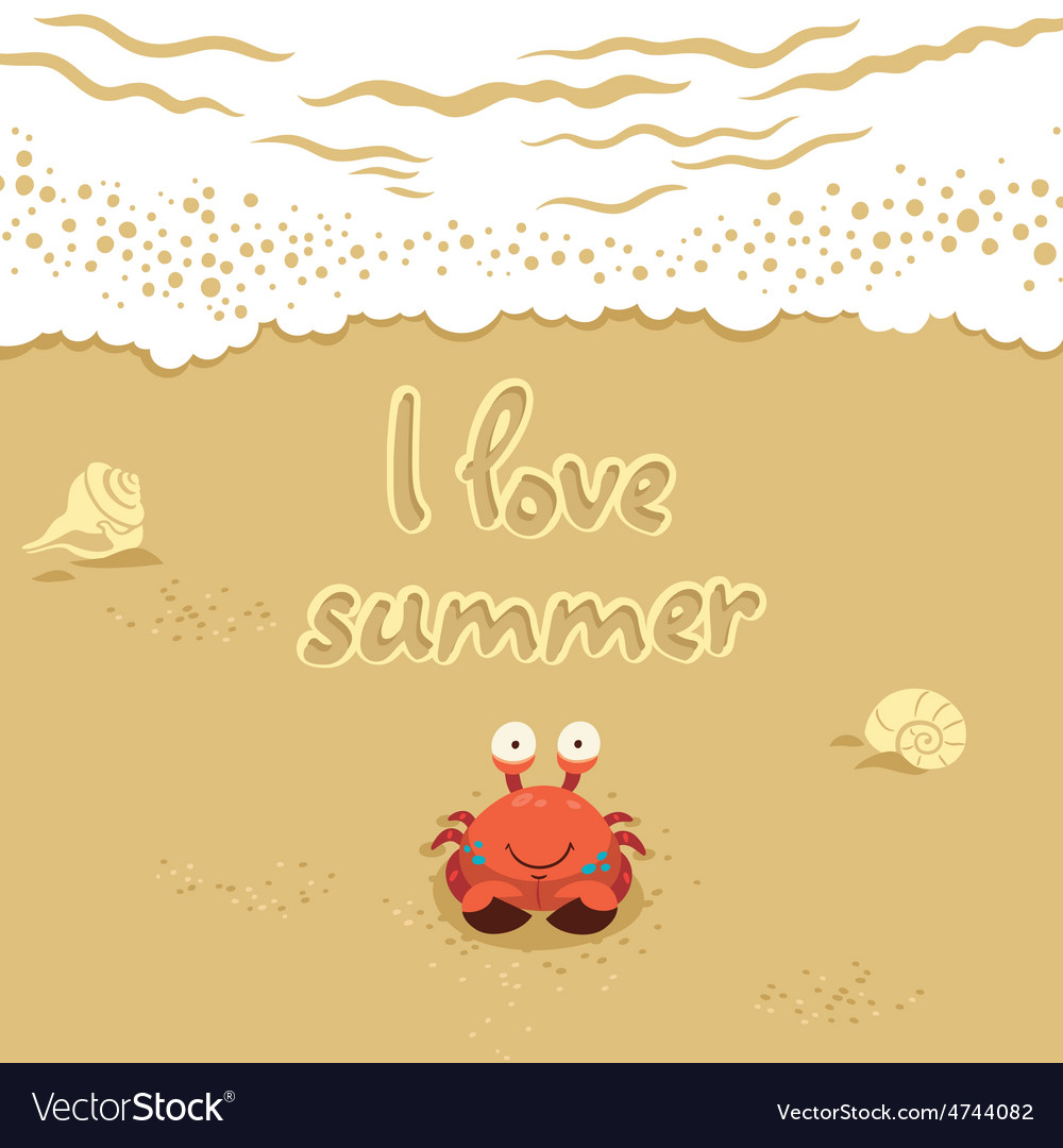 Cute of crab and lettering on vector | Price: 1 Credit (USD $1)