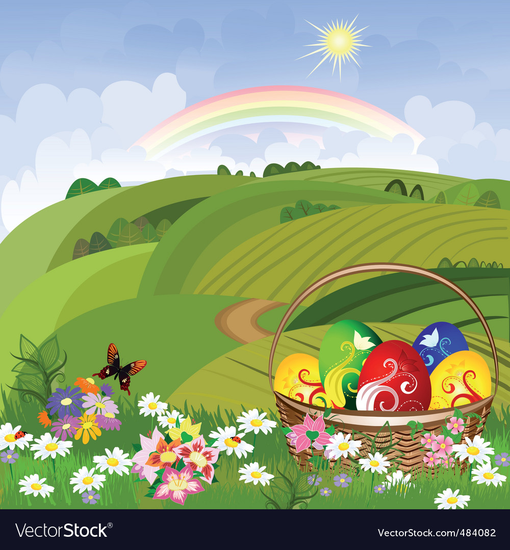 Easter clearing with a basket vector | Price: 3 Credit (USD $3)