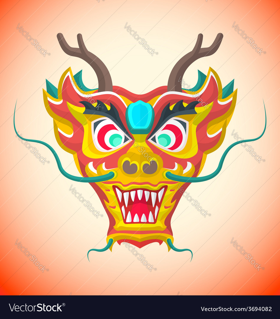 Flat style chinese red dragon mask vector | Price: 1 Credit (USD $1)
