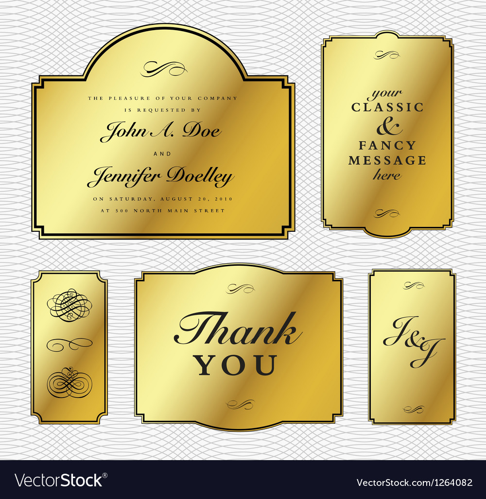Gold foil frame set vector | Price: 1 Credit (USD $1)