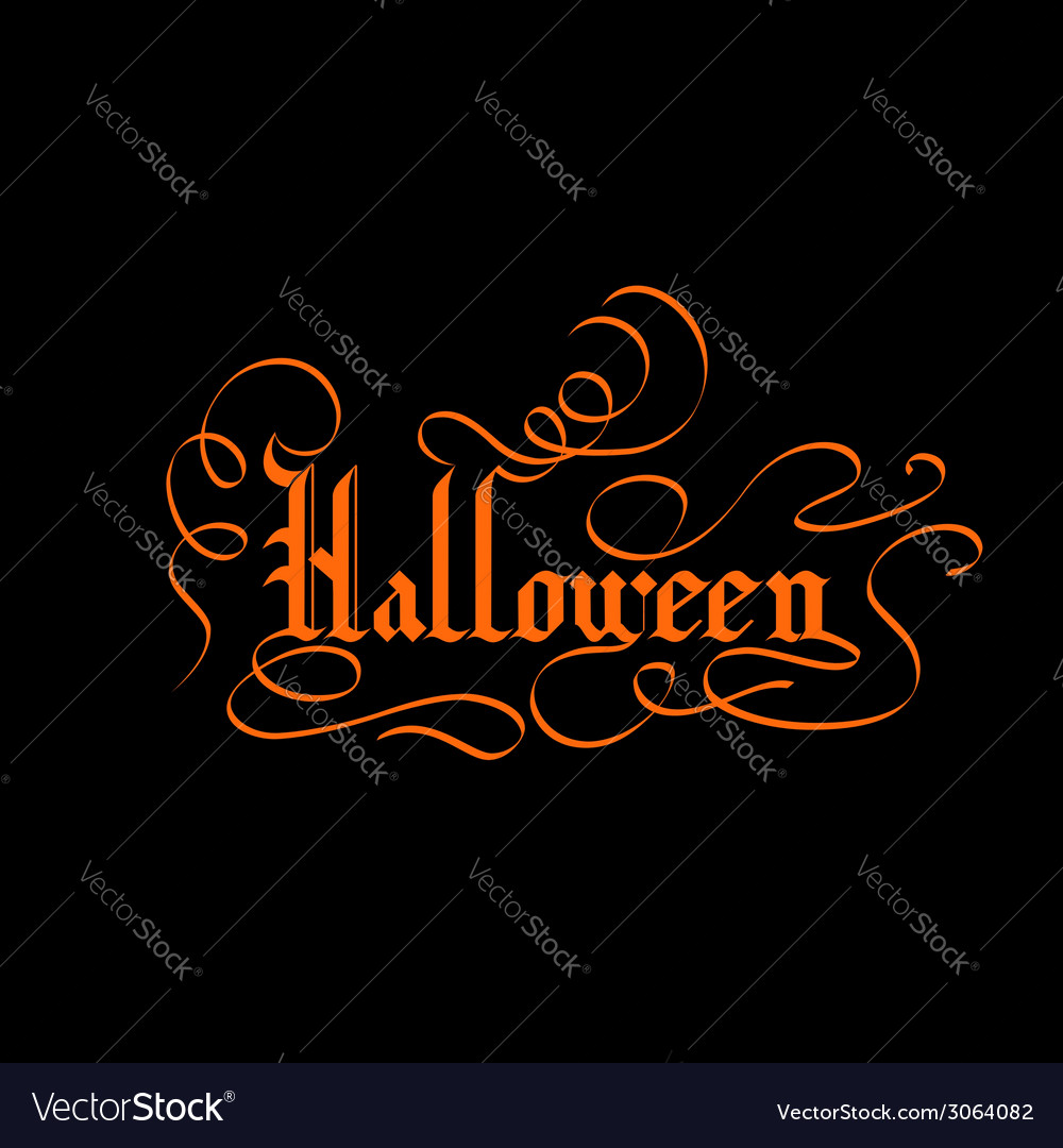 Halloween lettering greeting card vector | Price: 1 Credit (USD $1)