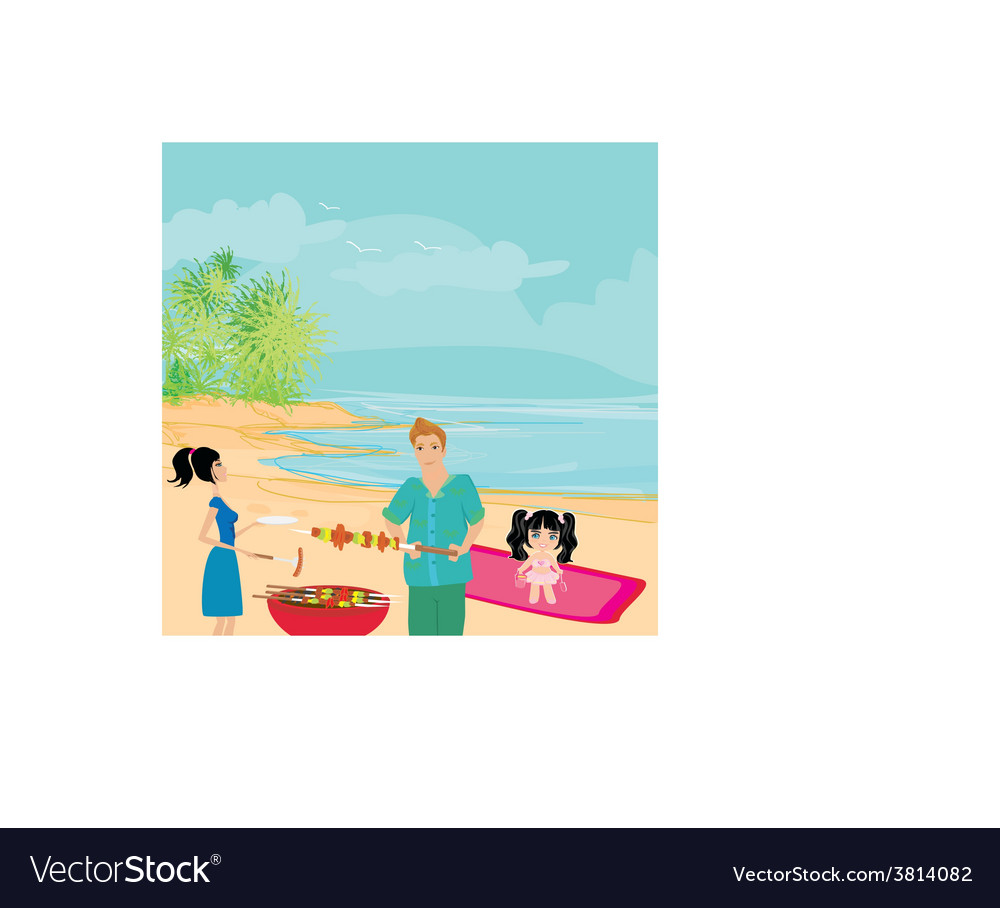 Happy family with barbecue outdoors vector | Price: 1 Credit (USD $1)