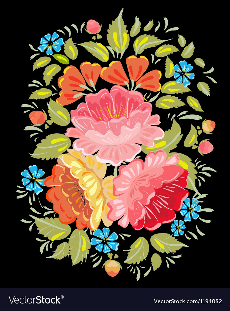 Khokhloma floral pattern vector   Price: 1 Credit (USD $1)