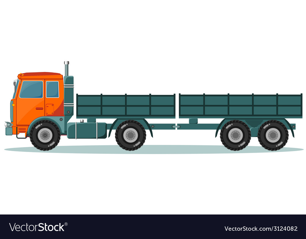 Machine with two empty trailers vector | Price: 1 Credit (USD $1)