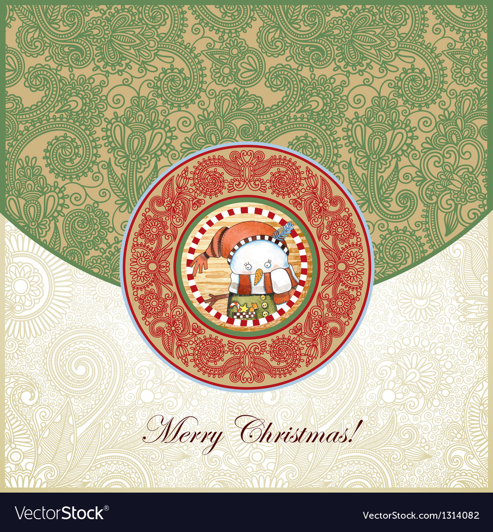 Ornate christmas vintage template vector | Price: 1 Credit (USD $1)