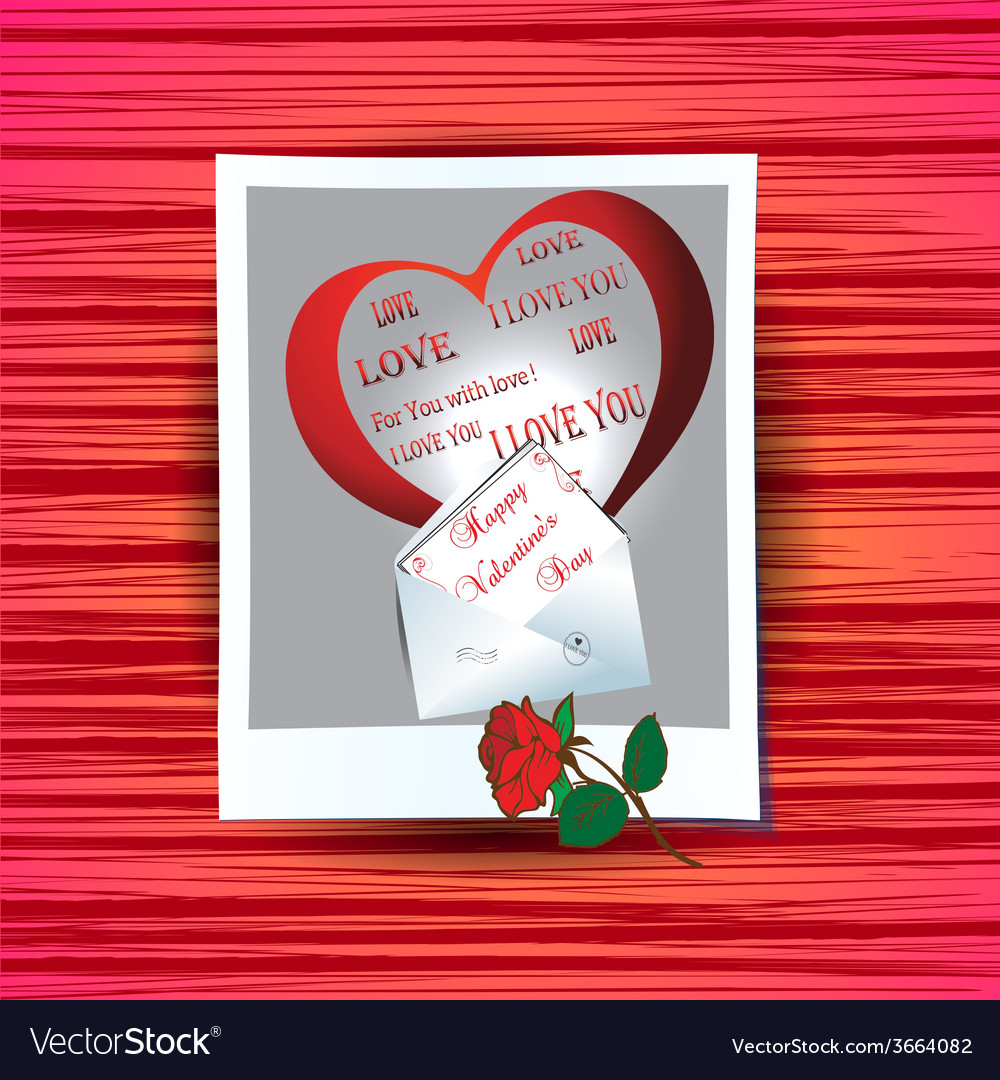 Photograph with congratulations on valentines day vector | Price: 1 Credit (USD $1)