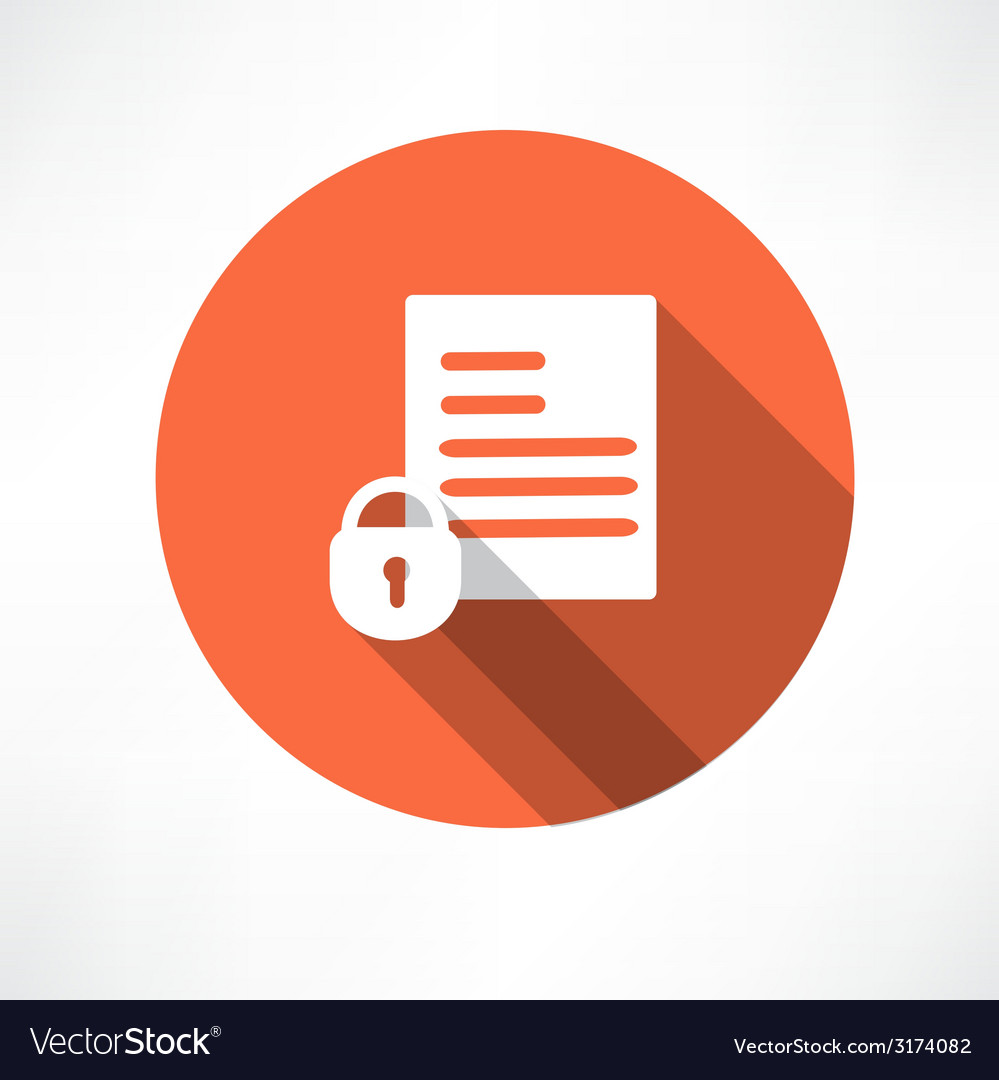 Protected document icon vector | Price: 1 Credit (USD $1)