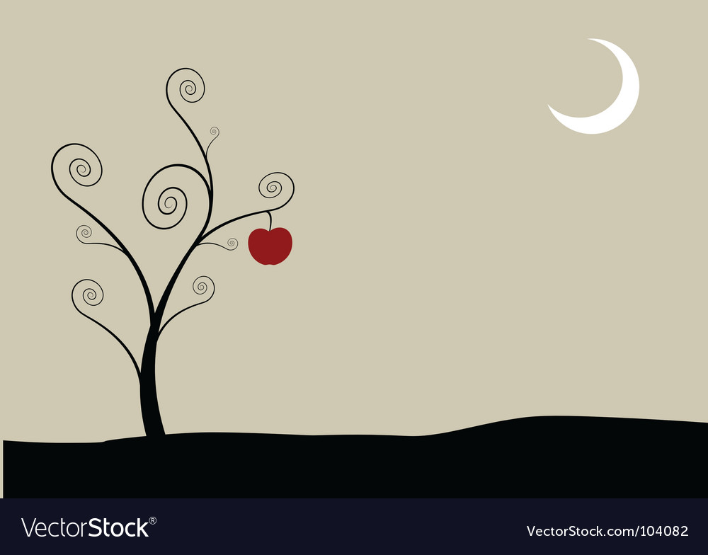 Tree with moon and apple vector | Price: 1 Credit (USD $1)