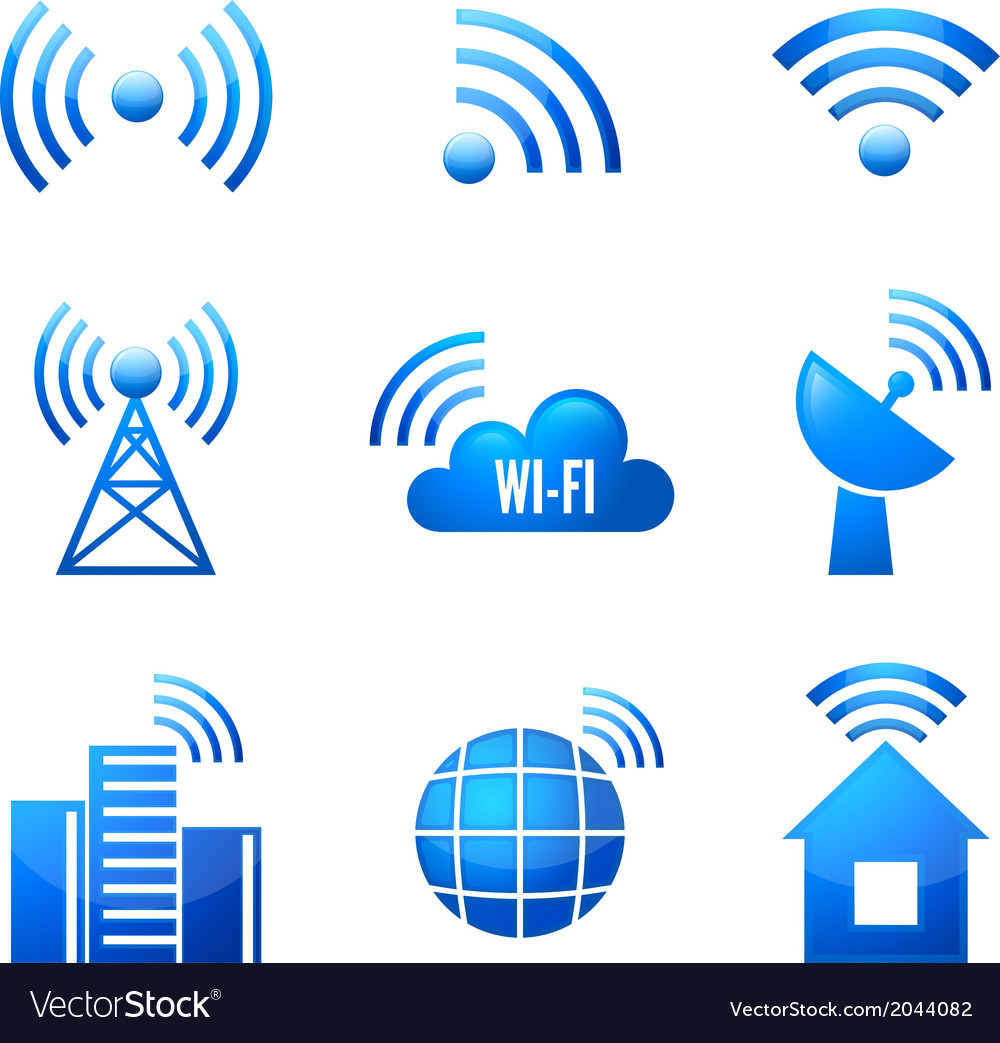 Wi-fi glossy icons set vector | Price: 1 Credit (USD $1)