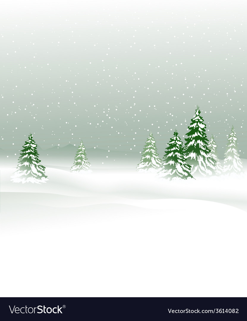 Winter landscape with christmas trees vector   Price: 1 Credit (USD $1)