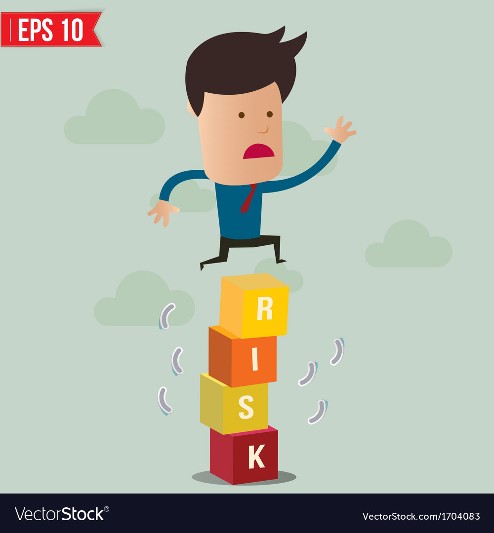 Business man jump over the risk block - - ep vector | Price: 1 Credit (USD $1)