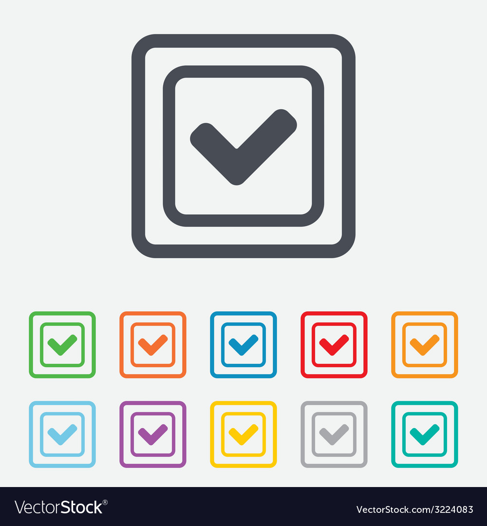 Check mark sign icon yes square symbol vector | Price: 1 Credit (USD $1)