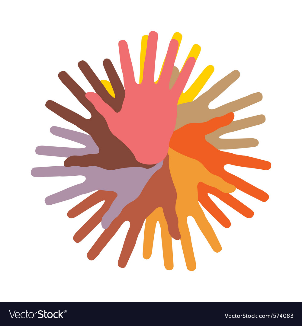 Colorful round of hands vector | Price: 1 Credit (USD $1)