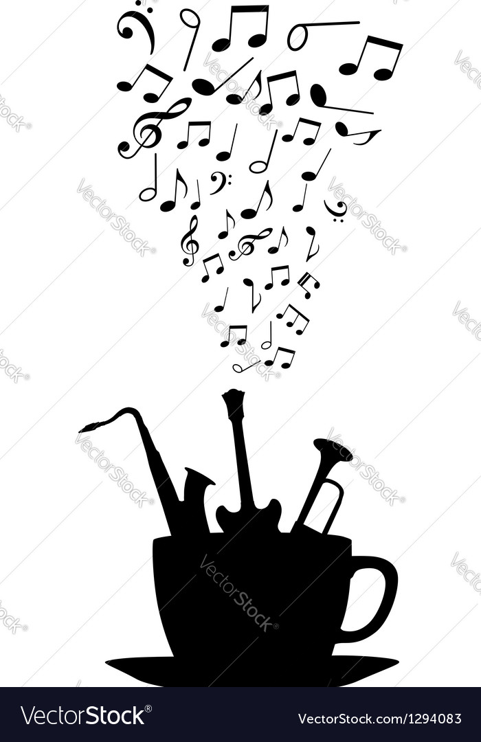 Cup of tea or coffee with musical notes vector | Price: 1 Credit (USD $1)