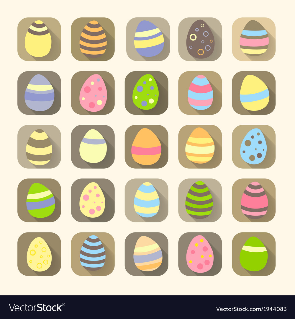 Easter eggs icons symbols vector | Price: 1 Credit (USD $1)