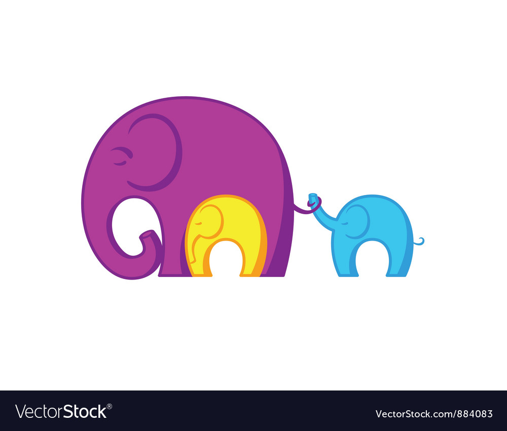 Elephants family vector | Price: 1 Credit (USD $1)